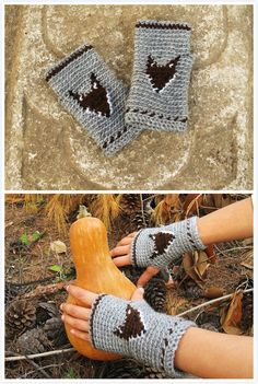 Crochet these woodland crochet mitts to welcome fall! Fox chart included!