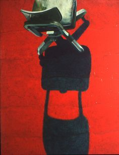 "Saatchi Online Artist: Ira Upin; Oil, 1995, Painting ""Empty Chair - Red"""