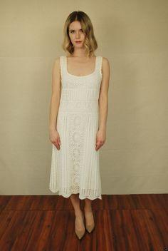 Vtg 70s White Hippie Halter Crochet Knit Festival Maxi Boho Bridal MIDI Dress S | eBay