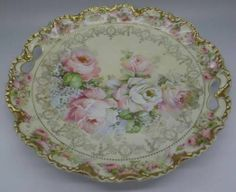 RS PRUSSIA GOLD GILT & ROSES PLATE with HANDLES c.1902 - I would have died for this plate
