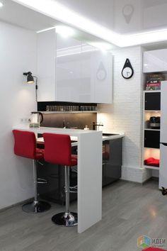 Мини-кухня в студии, зонирования квартира-студия: