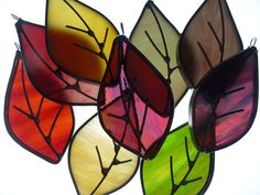 Stained Glass Suncatcher  Autumn Leaves  Window by BlueFishStudios, $5.50