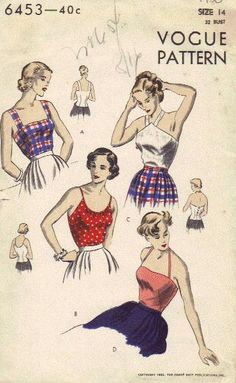 Vogue Vintage Sewing Pattern 1950 Late 40s by AdeleBeeAnnPatterns