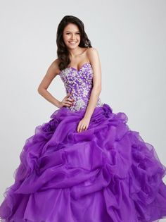 Fabulous full skirted purple ball gown from Allure Prom.