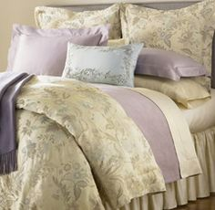 Swanky Outlet - Loving the bedding and more here! Sferra Sonya Champagne Floral King Duvet Cover NEW