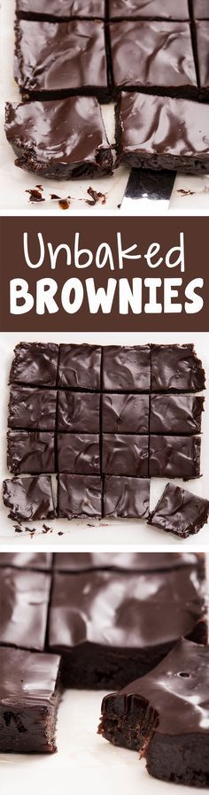 """Secretly healthy """"unbaked"""" brownies from Covered Katie… dairy-free egg-free raw vegan paleo & gluten-free. Raw Desserts, Paleo Dessert, Gluten Free Desserts, Just Desserts, Delicious Desserts, Dessert Recipes, Yummy Food, Tasty, Raw Food Recipes"""