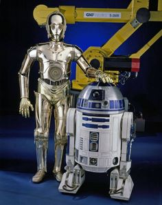 Anthony Daniels and Kenny Baker as  C-3PO and R2-D2 in Star Wars - 1977