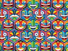 Hex Heads Pattern by Von Glitschka