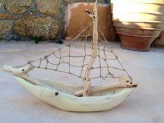 natural color driftwood boat ship van seasidemykonos op Etsy