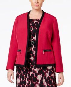 331a14f62019a Kasper Plus Size Zip-Pocket Open-Front Blazer Blazers For Women