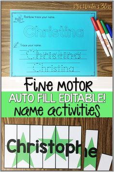 Editable name activities and fine motor practice all in one engaging resource!Included in this resource are10 different hands on activitiesdesigned to help your learners recognize, learn to spell and write their names (names up to 12 letters). mrswintersbliss.com #finemotor #finemotorskills #alphabetactivities #kindergarten #preschool