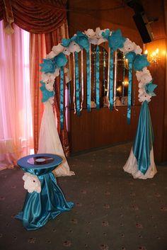 blue wedding paper flowers