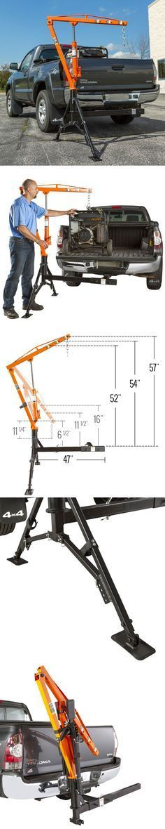 """The Apex Hitch-Mounted Receiver Hitch Crane makes it possible for one person to easily lift heavy equipment or cargo weighing up to 1,000 lbs into the bed of a pickup truck. Attach it to your 2"""" class III or IV trailer hitch to easily load from either the driver or passenger side of your truck, and when not in use the trailer hitch crane folds up to be transported on your trailer hitch and free up valuable cargo space in the bed of your truck."""