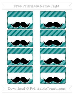 Teal Diagonal Striped  Mustache Name Tags