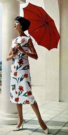 Simone in an elegantly slim summer dress of tulip printed satin-cotton by Lanvin-Castillo, shoes by Charles Jourdan, L'Officiel 1958.
