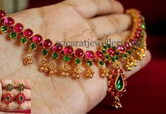 Ruby Necklace only 4200 Ruby Necklace Designs, Bracelet Designs, Necklace Ideas, Gold Jewellery Design, Bead Jewellery, Antique Jewellery, Temple Jewellery, Ruby Jewelry, Wedding Jewelry