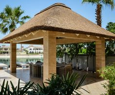 Best Comfy Gorgeous Front Yard Ideas with Modern Gazebo The gazebo is a comfortable place to enjoy the atmosphere outside with a beautiful and cool garden. Equipped with a relaxed seat, but in general, we o. Thatched House, Thatched Roof, Outdoor Gazebos, Outdoor Structures, Gazebo Plans, Gazebo Ideas, African Hut, Modern Gazebo, Hut House