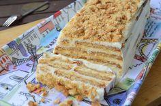 La tarta de la abuela, de galletas y chocolate, pero sustituyendo lo segundo por una crema de leche condensada, queso crema y limón. Genial versión del blog PASIÓN Y TENTACIÓN.