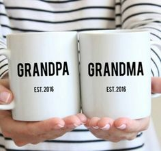 This set of two mugs is perfect for new grandparents! Includes 'Grandma' and 'Grandpa' mug. About the mug: -Microwave and dishwasher safe-Design printed on front and back-Made from the highest grade ceramic-Printed in the United States Baby Announcement To Parents, Cute Baby Announcements, Im Pregnant Announcement, Grandparent Announcement, Baby Surprise Announcement, Grandma And Grandpa, Mom And Dad, Dad Dad, Cute Babies