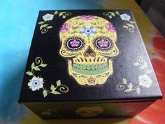 Day of The Dead Sugar Skull Yellow & Black Jewelry Box
