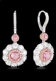 Platinum & Rose Gold Round Brilliant Cut Diamond Earring Crafted in Platinum, these stunning Pink and White Diamond set drop earrings, from our Hardy Brothers Vault Collection, are set in a classic cluster design. With an impressive total Diamond wei Pink Jewelry, Diamond Jewelry, Diamond Earrings, Silver Jewelry, Vintage Jewelry, Jewelry Accessories, Jewelry Design, Drop Earrings, Silver Ring