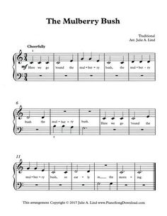 The Mulberry Bush, free printable piano sheet music for beginning piano lessons. The Mulberry Bush, free printable piano sheet music for beginning piano lessons. Easy Piano Sheet Music, Free Sheet Music, Music Sheets, Piano Music For Kids, Piano Lessons For Kids, Music Lessons, Guitar Lessons, Printable Sheet Music, Free Printable