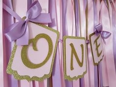 First birthday banner. One birthday banner. Pink and purple bunting. Gold one. #inspiredbyalma #onebanner #partydecorations #firstbirthday