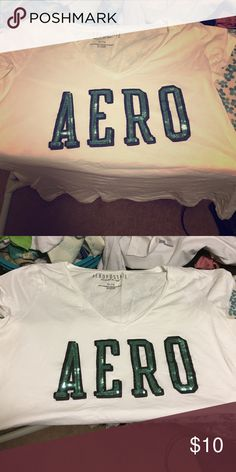 Cute aero top Like new only worn maybe once. Has sparkle Areo written across shirt. Aeropostale Tops Tees - Short Sleeve