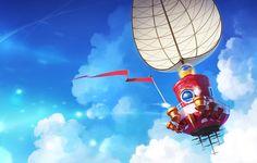 Wallpaper clouds, sail, the sky, Super Mario Odyssey, art, ship ...