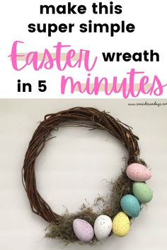 DIY Easter Egg Wreath Tutorial |Make this Easter egg wreath for less than $5 using stuff from the dollar store! This DIY Easter wreath is made from dollar store supplies and the tutorial is so simply to make, anyone can do it! So much cheaper than a store bought Spring wreath. Dollar Store Crafts, Dollar Stores, Easter Activities For Toddlers, Spring Activities, Easter Books, Plastic Easter Eggs, Wreath Tutorial, Egg Decorating, Easter Wreaths