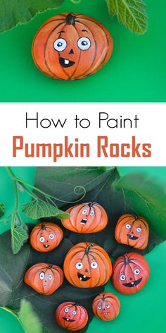 Painted Pumpkin Rocks - - If you like painting rocks, here is a fun autumn craft for you and the kids - turn rocks into jack-o-lantern pumpkins! Also great for Halloween decorations. Rock Painting Patterns, Rock Painting Ideas Easy, Rock Painting Designs, Rock Painting Ideas For Kids, Stone Art Painting, Pebble Painting, Painted Rock Animals, Painted Rocks Craft, Painted Pumpkins