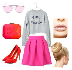 """""""Girl power embrass pink """" by dr-wajihahassan on Polyvore featuring Chanel, Penny Loves Kenny, LASplash, women's clothing, women, female, woman, misses and juniors"""