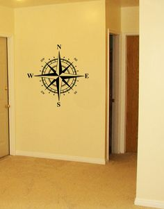 Compass Rose Nautical North Arrow - Vinyl Decal Wall Decal Wall Art Silhouette $29.95