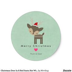 Christmas Deer In A Red Santa Hat With Pink Heart sticker