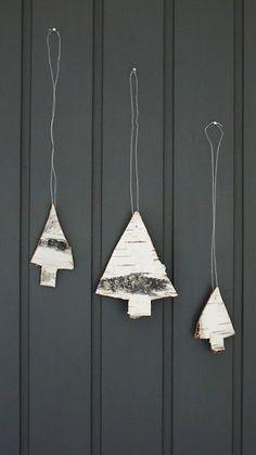 I love the simplicity! Christmas trees made of birch bark.