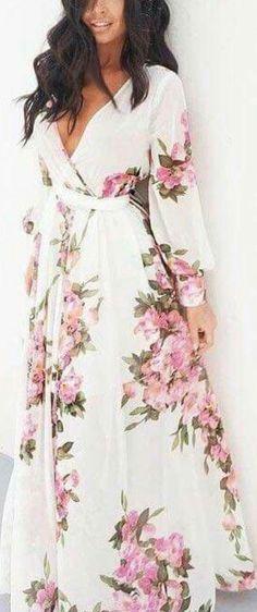 Beautiful floral maxi wrap dress