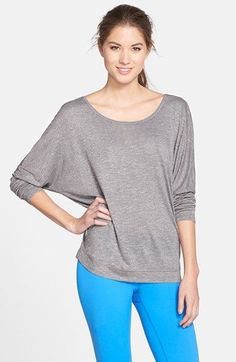 Free shipping and returns on Zella 'Spa' Open Back Slub Knit Tee at Nordstrom.com. Perfect for kickin' back after a tough workout session, this soft, featherweight scoop-neck tee features long dolman sleeves that can be pushed up for an alternate look. An open back cools you down while offering a chic, on-trend look.