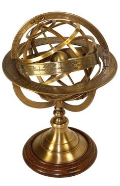 Brass Antique Finish Armillary Celestial Globe With Zodiac Engravings, 2015 Amazon Top Rated Sundials #Lawn&Patio