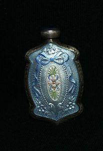 *Vintage Guilloche Enamel & Sterling Silver Perfume Bottle