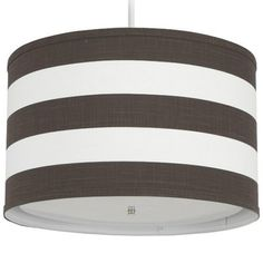 Oilo Pendant Lighting Striped Brown Cylinder - For Will's Room? Laundry Room Lighting, Dining Room Lighting, Chandelier Lighting, Light Bulb Lamp, Bulb Lights, Ceiling Lights, Cottage Furniture, Handmade Lamps, Paint Stripes