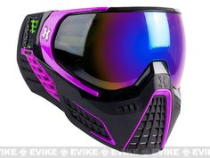 HK Army KLR Full Seal Airsoft/Paintball Mask - Black/Purple -Cobalt Lenses