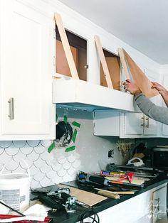 Kitchen Redo, Kitchen Design, Farm Kitchen Diy, Kitchen Mantle, Kitchen Ideas, Diy Kitchen Remodel, Kitchen Storage, Home Renovation, Home Remodeling
