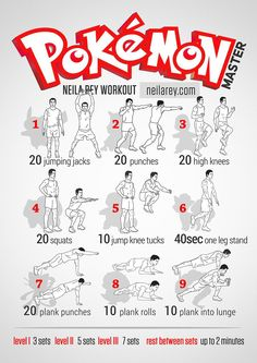 Pokemon Master Workout by Neila Rey Nerd Fitness, Boxe Fitness, Fitness Motivation, Fitness Quotes, Fitness Tips, Fitness Models, Hero Workouts, Gym Workouts, At Home Workouts