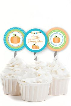 Welcome your little pumpkin with our Fall Pumpkin baby shower theme. These 2 inch cupcake toppers are perfect for a boy baby shower! The inner circle measures 2 inches within a 2.5 inch square in order to give you options when cutting. Print out additional ones to use as favor tags! These Toppers feature bright, rustic, fall colors perfect for an autumn baby shower.  Complete Your Party! Matching party accessories can be found here…
