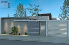 Our Top 10 Modern house designs – Modern Home Front Wall Design, House Fence Design, Exterior Wall Design, Modern Fence Design, Door Gate Design, Modern House Design, Modern Exterior, Exterior Colors, Compound Wall Design