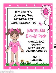 Printable gymnastics tumbling birthday party invitation birthday gymnastics gymnast birthday party invitations custom stopboris Choice Image