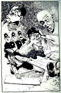 """"""" I shrieked, """"dissemble no more! I admit the deed! ―tear up the planks! ―It is the beating of his hideous heart!"""" ―The Tell-Tale Heart Artwork by Richard Corben. Edgar Allan Poe Museum, Edgar Allen Poe, Comic Book Artists, Comic Books Art, The Tell Tale Heart, Mystery Genre, Heart Artwork, Ink Master, Arte Horror"""
