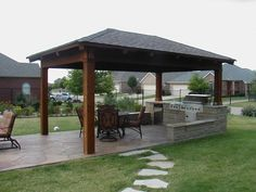 Beautiful Outdoor Kitchen Designs Decorated With Small Gazebo And ..