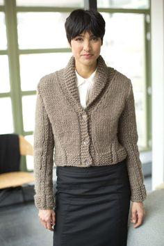Stitch Detail Jacket Free knitting Pattern: Stitch Detail Jacket in Lion Brand Wool-Ease Thick&Quick . Pattern # L32041