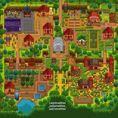 Stardew Valley > four corners farm > layout > pixel > indie game Stardew Farms, Stardew Valley Farms, Video Games Girls, Games For Girls, Game Boy, Stardew Valley Tips, Stardew Valley Layout, Farm Layout, Nintendo